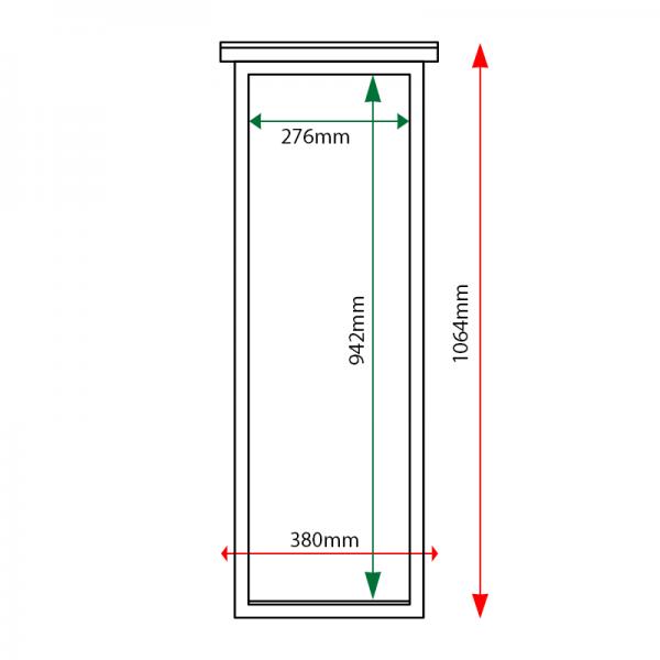 External & internal dimensions of 3 x A4, portrait format, oak noticeboard, unglazed