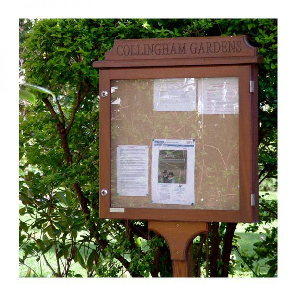 6 x A4 oak noticeboard with single post kit and engraved header, Collingham Gardens, SW5,