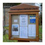 6 x A4 oak noticeboard on single post with gable header, Yarwell Anglican & Methodist Church