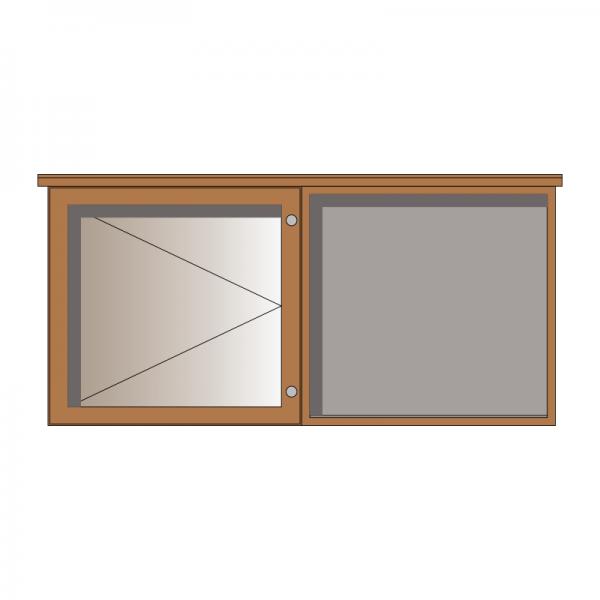 2-bay, 6 x A4 oak noticeboard, 1 bay glazed