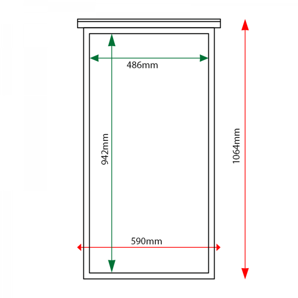 External & internal dimensions of 6 x A4 oak noticeboard, portrait format, unglazed