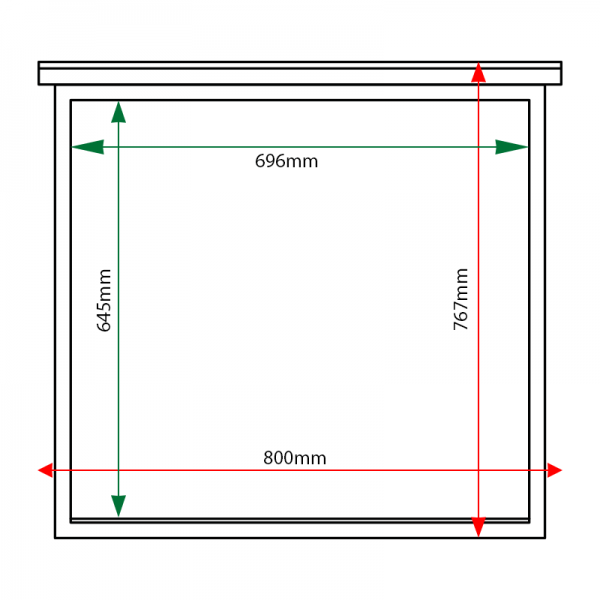 External & internal dimensions of 6 x A4 oak noticeboard, unglazed