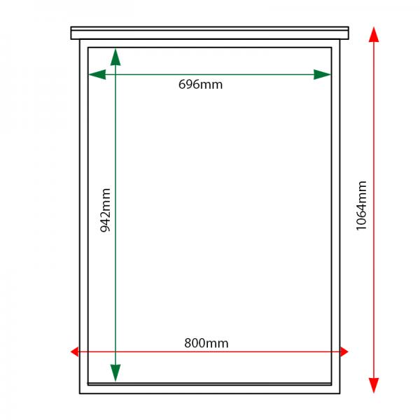 External & internal dimensions of 9 x A4 oak noticeboard, unglazed