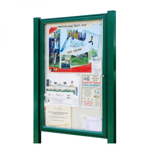 AF30-A1 aluminium noticeboard, post-mounted