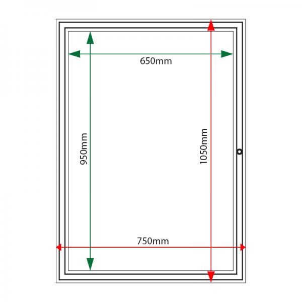 External & internal dimensions of AF30-A1 Aluminium Noticeboard
