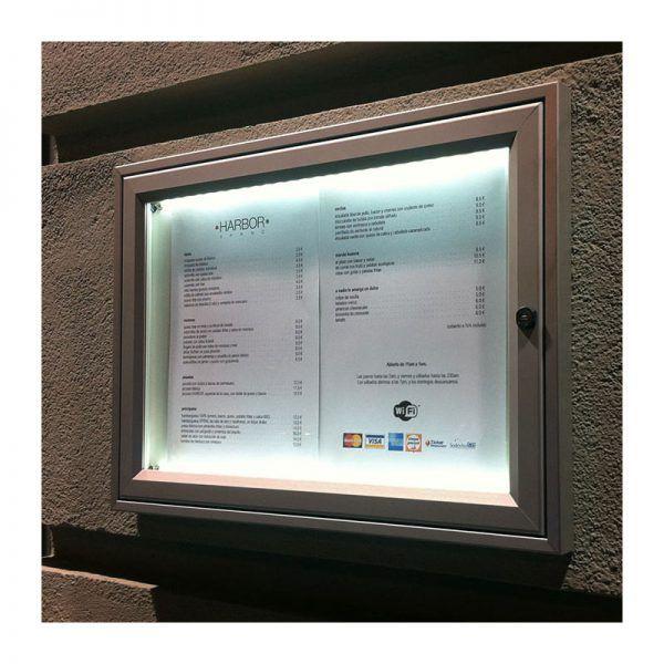 AF30 aluminium noticeboard showing LED illumination