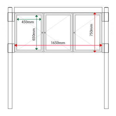 External & internal dimensions of 3 bay, single or double-sided, A2, A-Multi Contemporary aluminium noticeboard