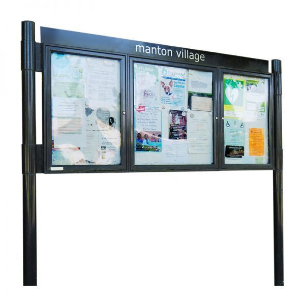 3 bay, single or double-sided, A2/6 x A4/A2, A-Multi Contemporary aluminium noticeboard