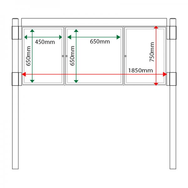 External & internal dimensions of AF30MC-262 Aluminium Noticeboard