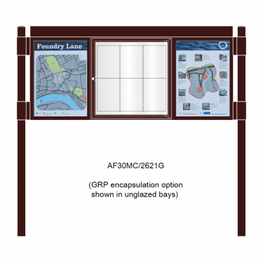 3 bay, single-sided, 6 x A4, A-Multi Decorative aluminium noticeboard, 1 bay glazed, centre bay glazed, showing encapsulation option option in unglazed panels