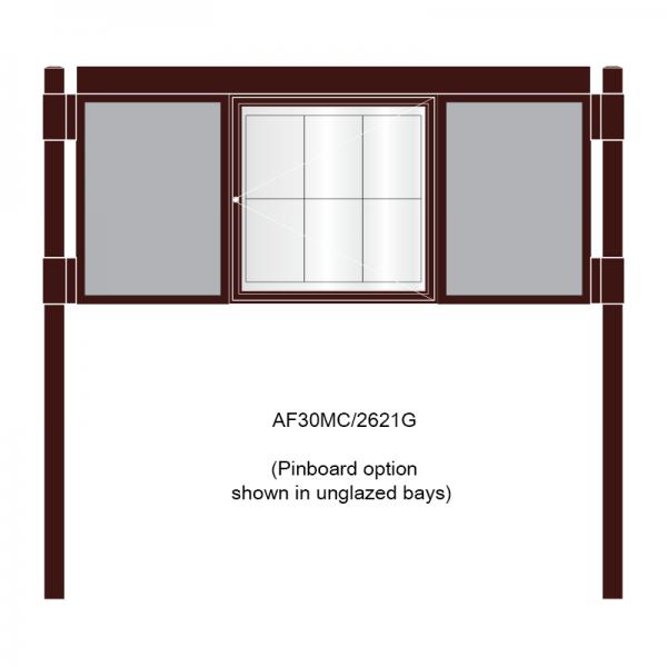 3 bay, single-sided, 6 x A4, A-Multi Decorative aluminium noticeboard, 1 bay glazed, centre bay glazed, showing pinboard option in unglazed bays