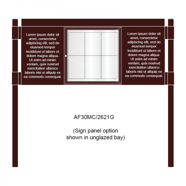 3 bay, single-sided, 6 x A4, A-Multi Decorative aluminium noticeboard, 1 bay glazed, showing sign panel option in unglazed bays