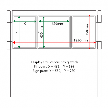 External & internal dimensions of AF30MC-2621G Aluminium Noticeboard, (centre bay glazed)