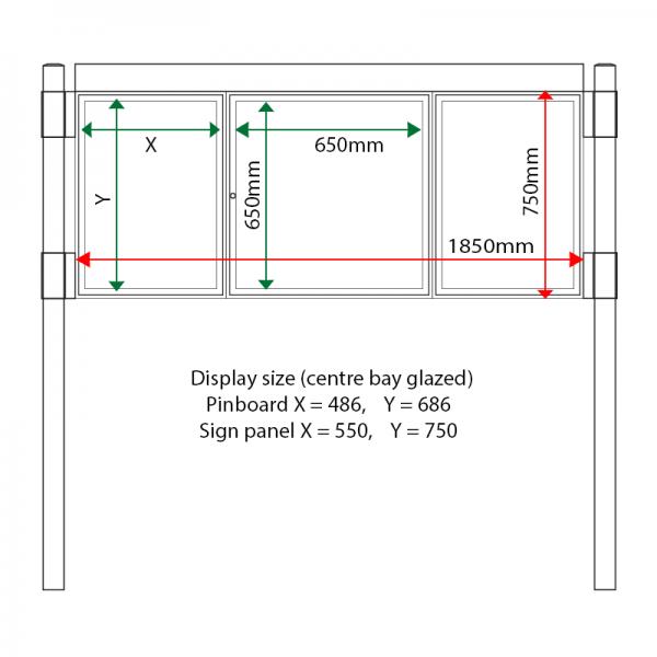 External & internal dimensions of AF30MC-2621G Aluminium Noticeboard, (centre bay glazed)