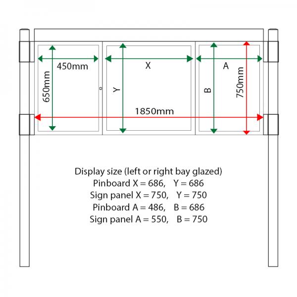 External & internal dimensions of AF30MC-2621G Aluminium Noticeboard, (end bay glazed)