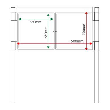 External & internal dimensions of AF30MC-D6A4 Aluminium Noticeboard