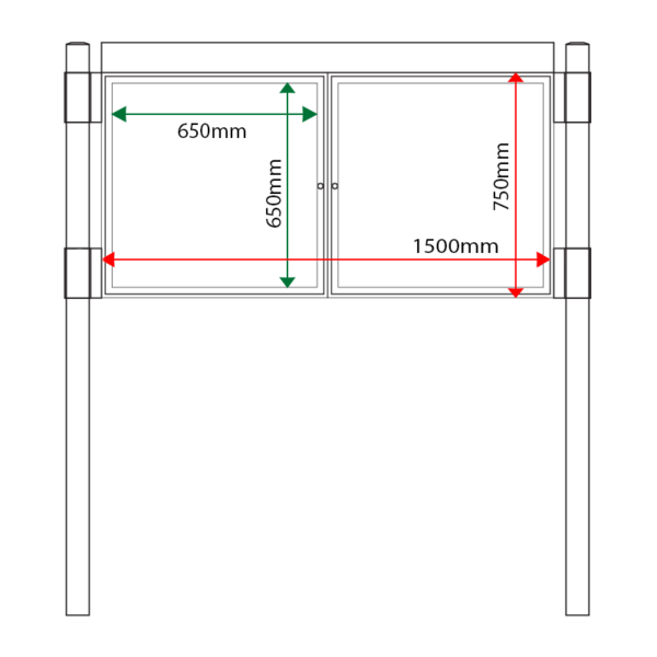 External & internal dimensions of AF30MC-D6A4 Aluminium Noticeboard