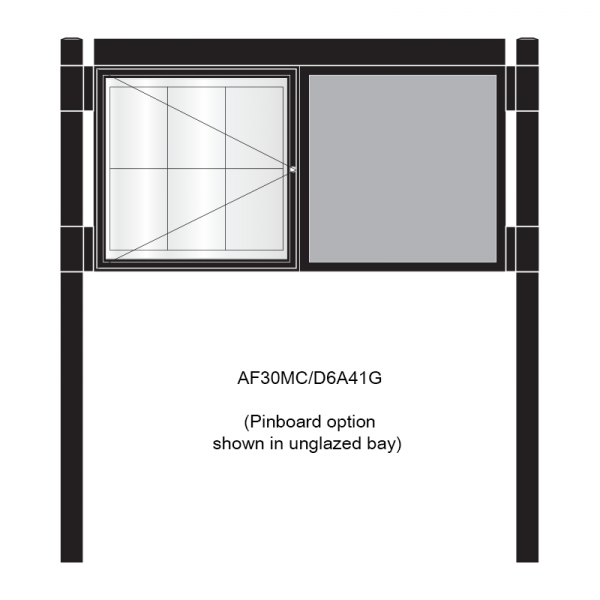 2 bay, single-sided, 6 x A4, A-Multi Contemporary, aluminium noticeboard, 1 bay glazed, showing pinboard option in unglazed bay