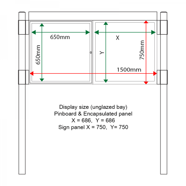 External & internal dimensions of AF30MC-D6A41G Aluminium Noticeboard