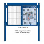 2 bay, single-sided, A1, A-Multi Contemporary, aluminium noticeboard, 1 bay glazed, showing encapsulation option in unglazed bay