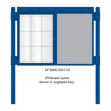2 bay, single-sided, A1, A-Multi Contemporary, aluminium noticeboard, 1 bay glazed, showing pinboard option in unglazed bay