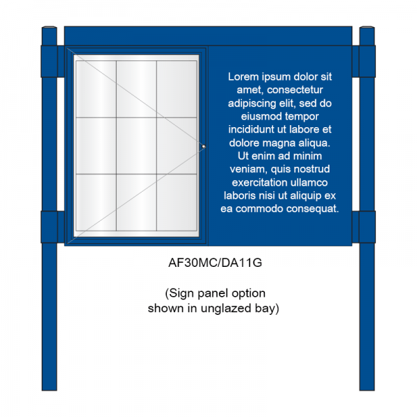 2 bay, single-sided, A1, A-Multi Contemporary, aluminium noticeboard, 1 bay glazed, showing sign panel option in unglazed bay