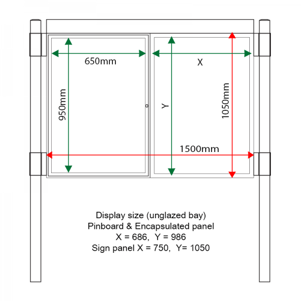 External & internal dimensions of AF30MC-DA11G Aluminium Noticeboard