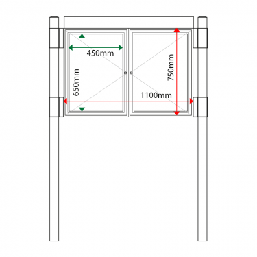 External & internal dimensions of 2 bay, single or double-sided, A2, A-Multi Contemporary aluminium noticeboard