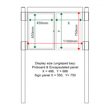 External & internal dimensions of AF30MC-DA21G aluminium Noticeboard
