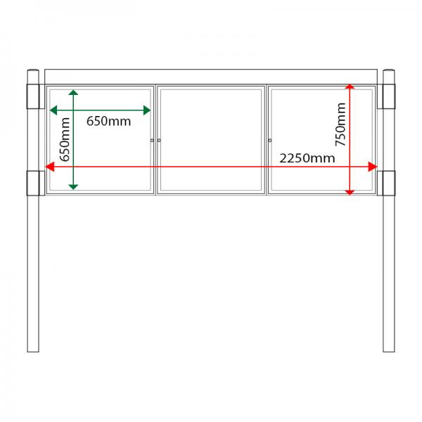 External & internal dimensions of AF30MC-T6A4 Aluminium Noticeboard