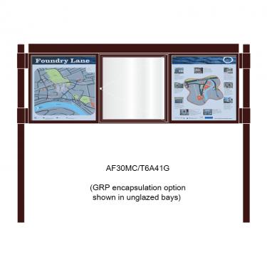 3 bay, single-sided, 6 x A4, A-Multi Contemporary aluminium noticeboard, 1 bay glazed, showing encapsulation option in unglazed bays