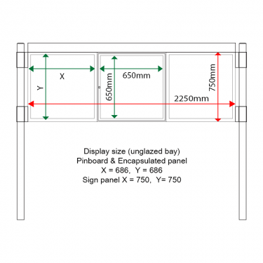External & internal dimensions of AF30MC-T6A41G Aluminium Noticeboard, (centre bay glazed)