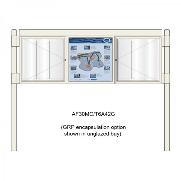 3 bay, single-sided, 6 x A4, A-Multi Contemporary aluminium noticeboard, 2 bays glazed, showing encapsulation option in unglazed bay