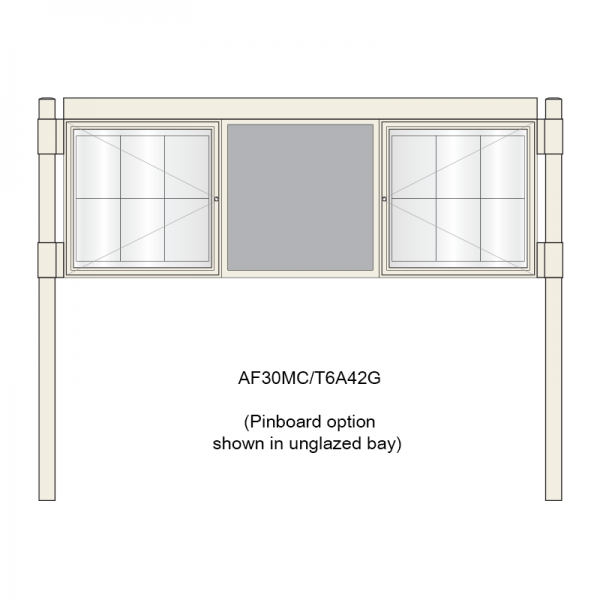 3 bay, single-sided, 6 x A4, A-Multi Contemporary aluminium noticeboard, 2 bays glazed, showing pinboard option in unglazed bay
