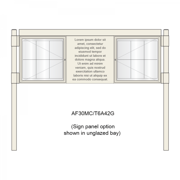 3 bay, single-sided, 6 x A4, A-Multi Contemporary aluminium noticeboard, 2 bays glazed, showing sign panel option in unglazed bay