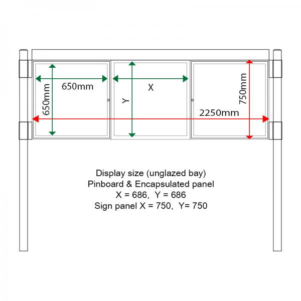 External & internal dimensions of AF30MC-T6A42G Aluminium Noticeboard, (centre bay unglazed)
