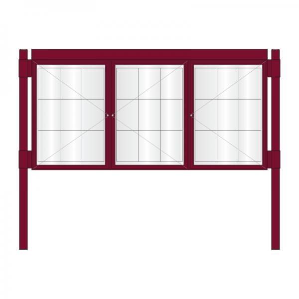 3 bay, single-sided, A1, A-Multi Contemporary aluminium noticeboard