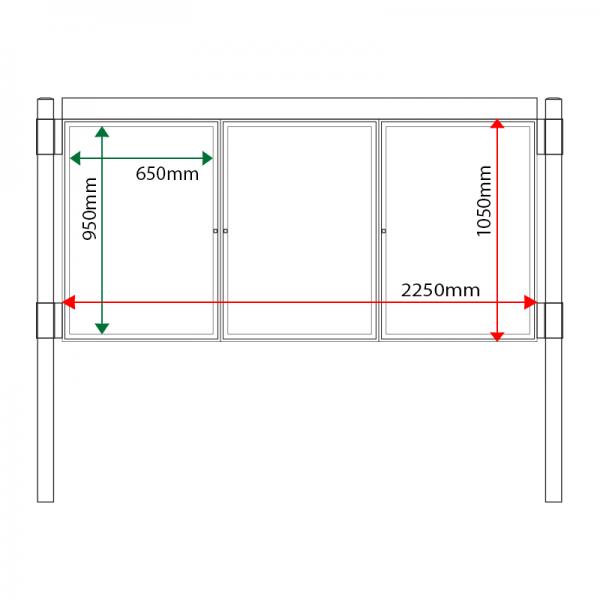 External & internal dimensions of AF30MC-TA1 Aluminium Noticeboard