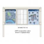 A-Multi Contemporary aluminium noticeboard, 1 bay glazed, showing encapsulation option in unglazed bays