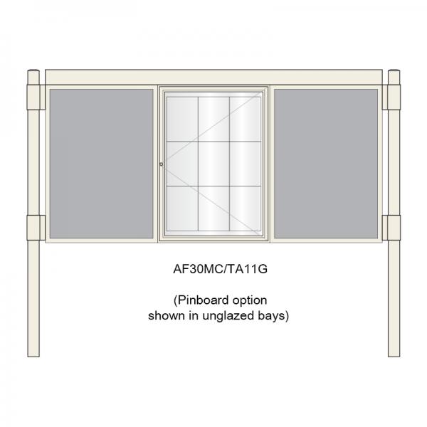 A-Multi Contemporary aluminium noticeboard, 1 bay glazed, showing pinboard option in unglazed bays