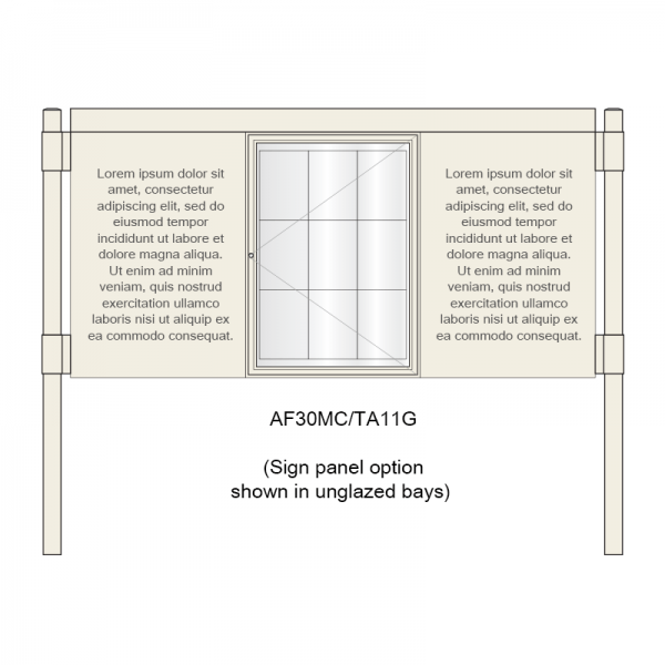 A-Multi Contemporary aluminium noticeboard, 1 bay glazed, showing sign panel option in unglazed bays