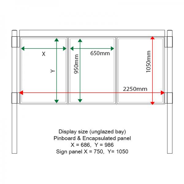 External & internal dimensions of AF30MC-TA11G Aluminium Noticeboard, (centre bay glazed)