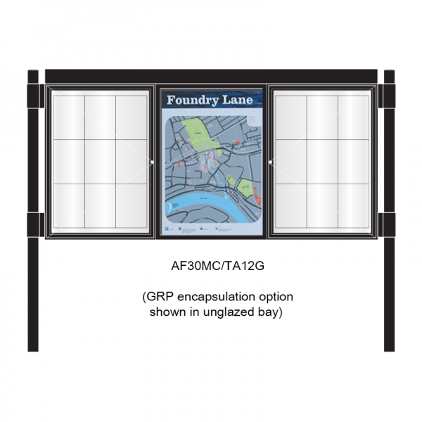 3 bay, single-sided, A1, A-Multi Decorative aluminium noticeboard, 2 bays glazed, showing encapsulation option in unglazed bay
