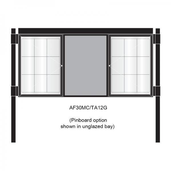 3 bay, single-sided, A1, A-Multi Decorative aluminium noticeboard, 2 bays glazed, showing pinboard option in unglazed bay
