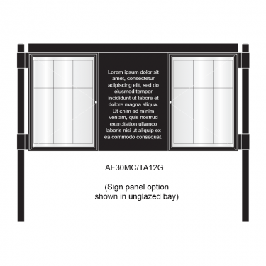 3 bay, single-sided, A1, A-Multi Decorative aluminium noticeboard, 2 bays glazed, showing sign panel option in unglazed bay