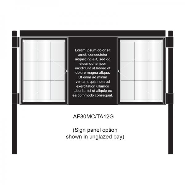 3 bay, single-sided, A1, A-Multi Decorative aluminium noticeboard, 2 bays glazed, showing sign panel option in unglazed bay