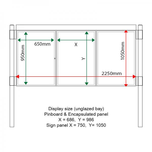External & internal dimensions of AF30MC-TA12G Aluminium Noticeboard, (centre bay unglazed)