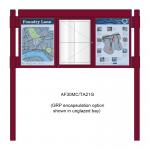 3 bay, single-sided, A2, A-Multi Contemporary aluminium noticeboard, 1 bay glazed, showing encapsulation option in unglazed bays