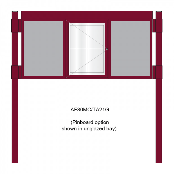 3 bay, single-sided, A2, A-Multi Contemporary aluminium noticeboard, 1 bay glazed, showing pinboard option in unglazed bays