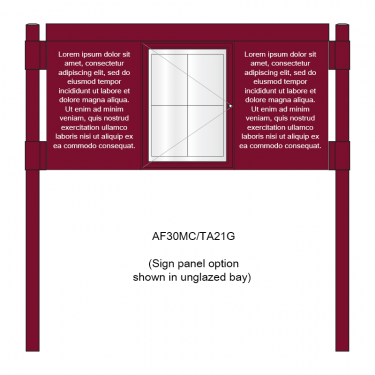 3 bay, single-sided, A2, A-Multi Contemporary aluminium noticeboard, 1 bay glazed, showing sign panel option in unglazed bays